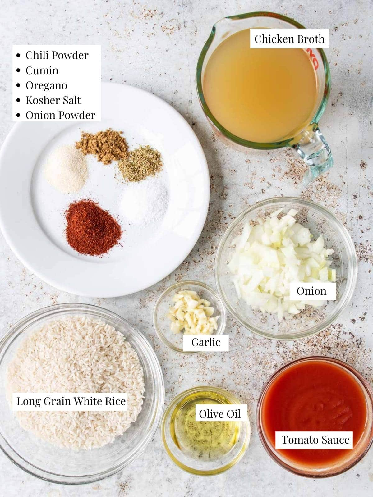 Mexican rice ingredients on a table with labels