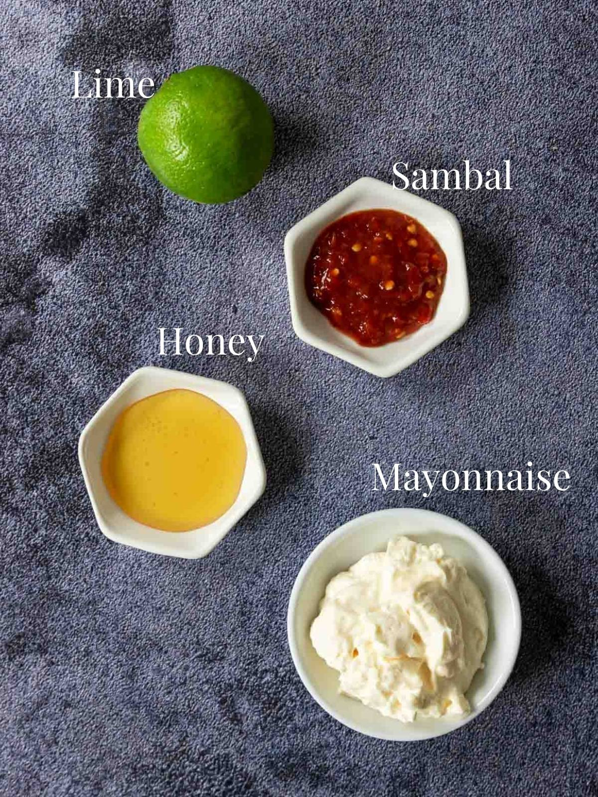 ingredients for Sambal Aioli on a table with text