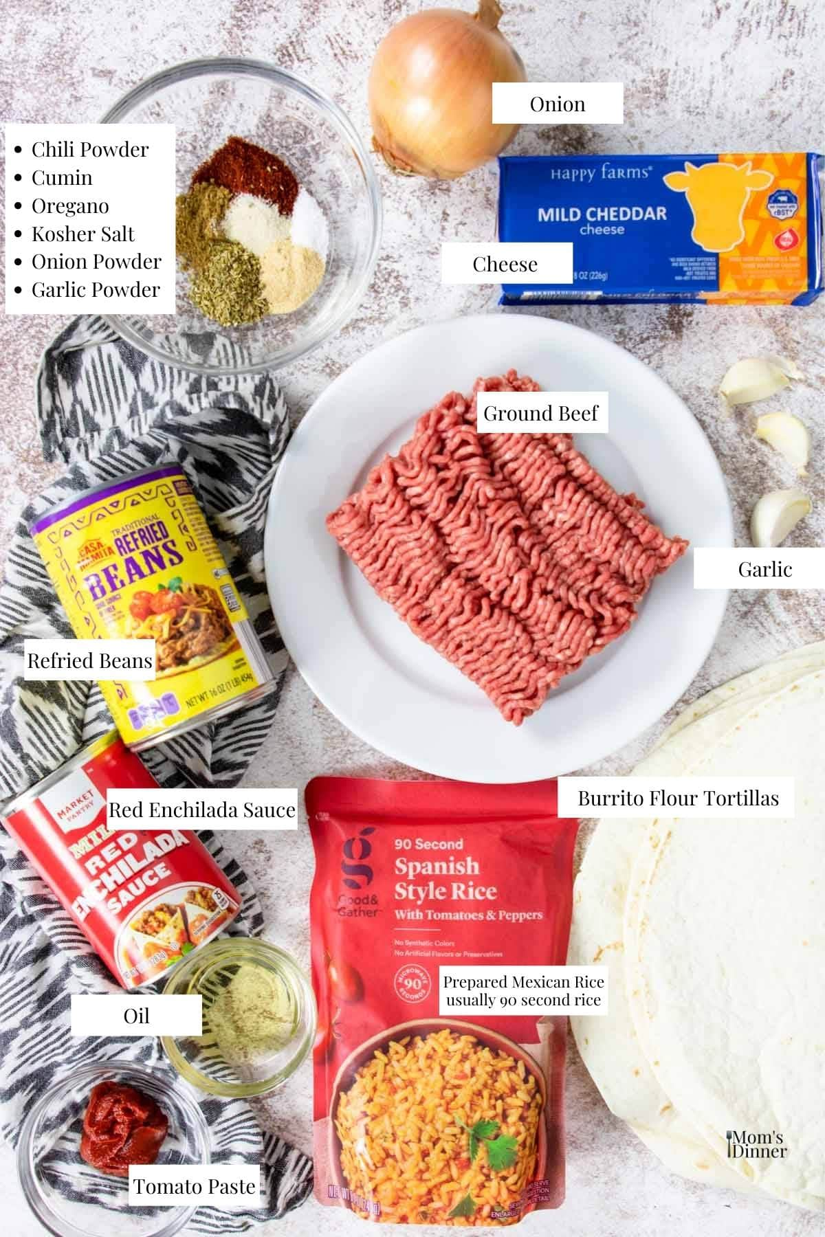 ingredients listed with text for smothered burritos