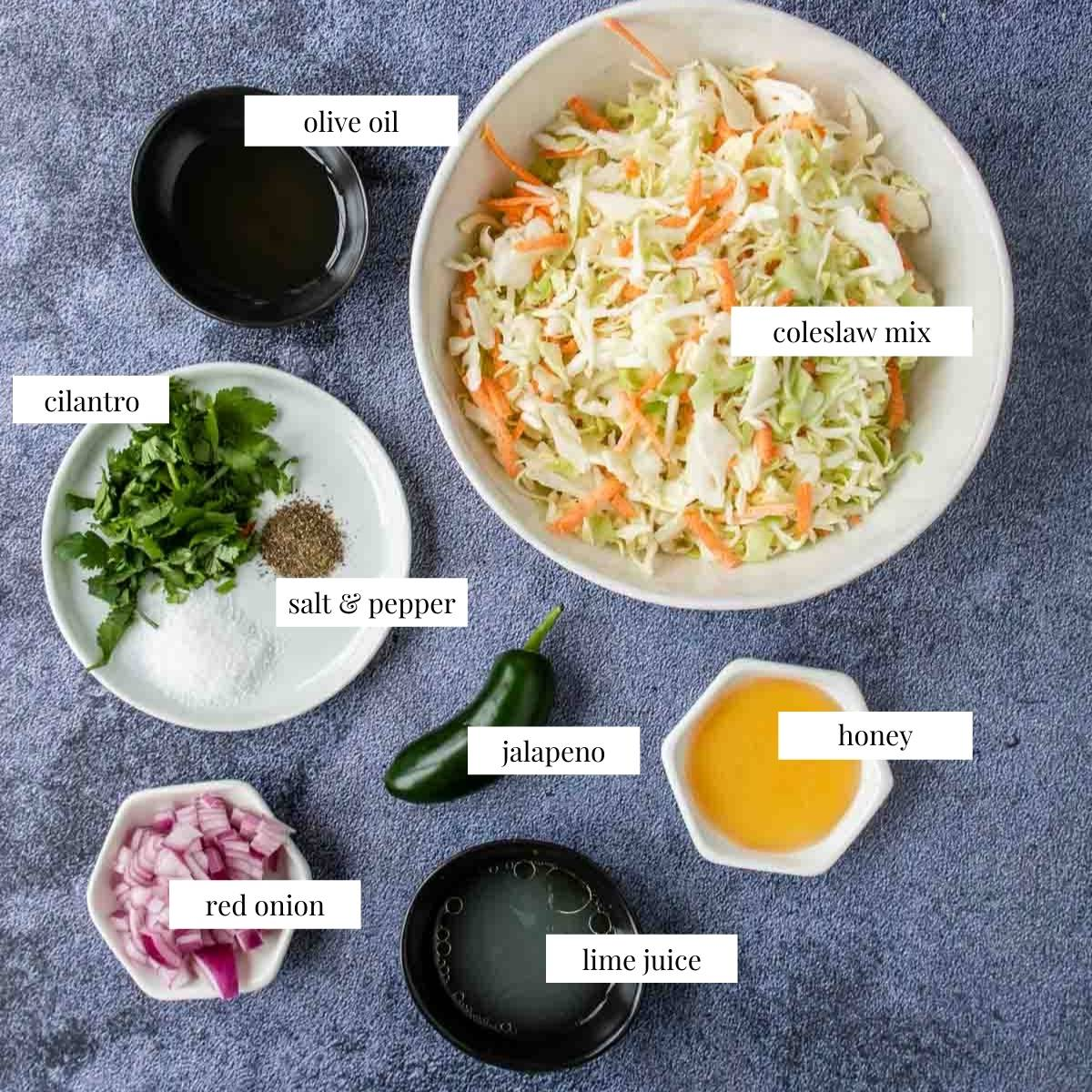 ingredients for cilantro lime slaw with labels