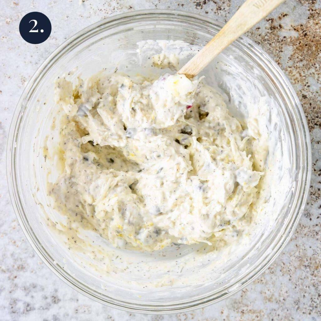 parmesan sauce mixed together for tilapia
