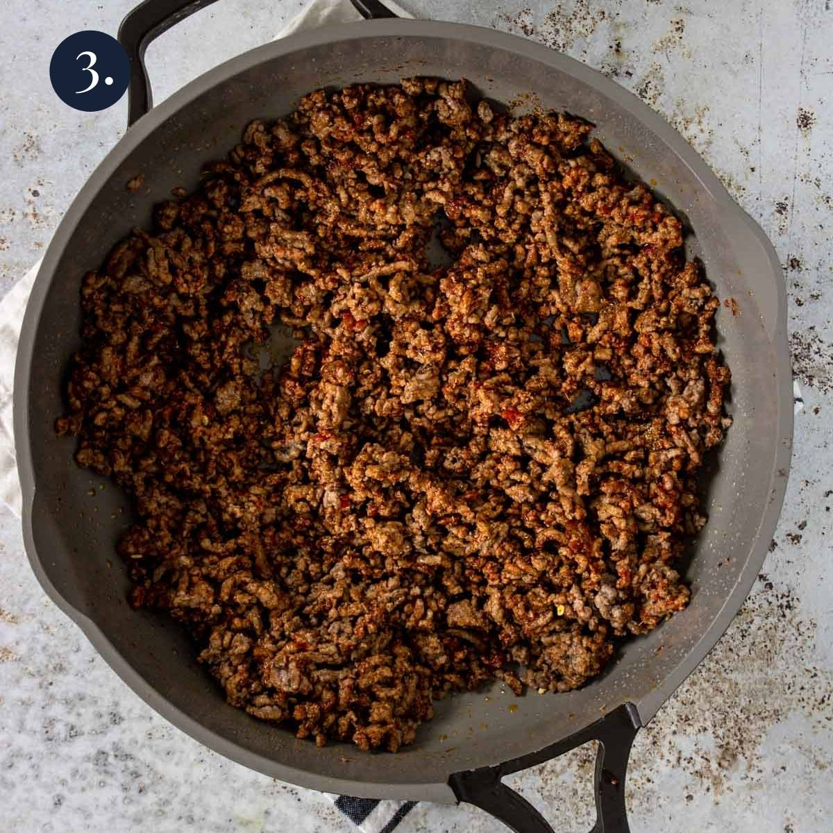 spices added to cooked ground beef