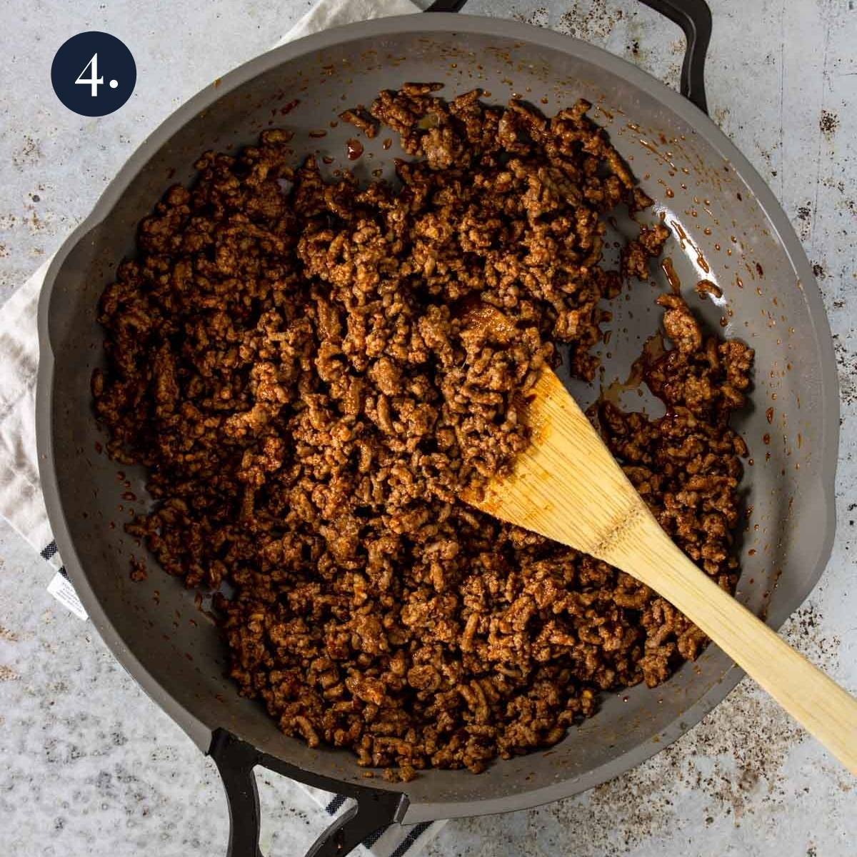 homemade taco meat in a skillet