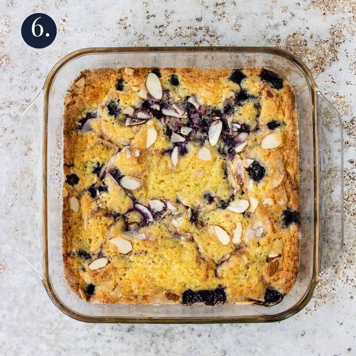 blueberry breakfast cake in a glass baking pan