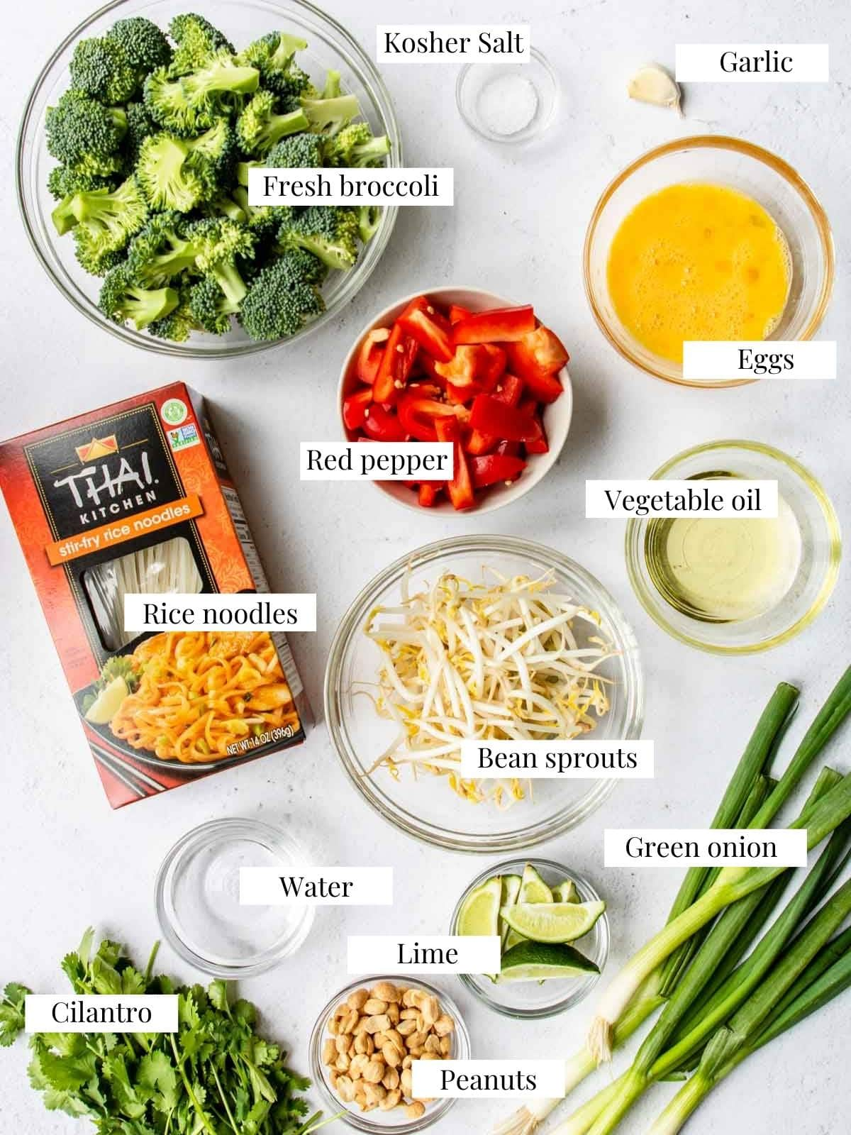 ingredients and garnishes for Vegetable Pad Thai