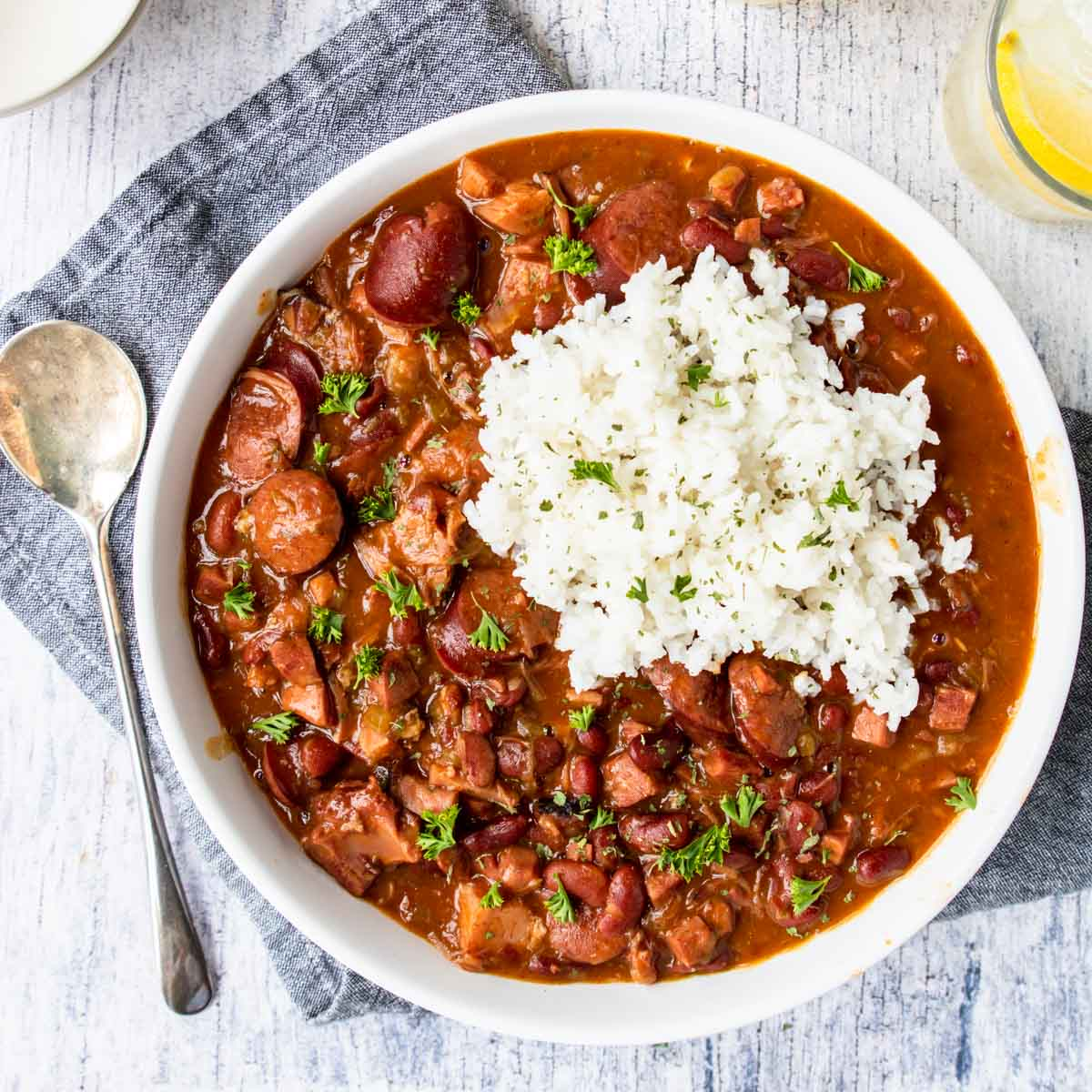 a big bowl of red beans and rice