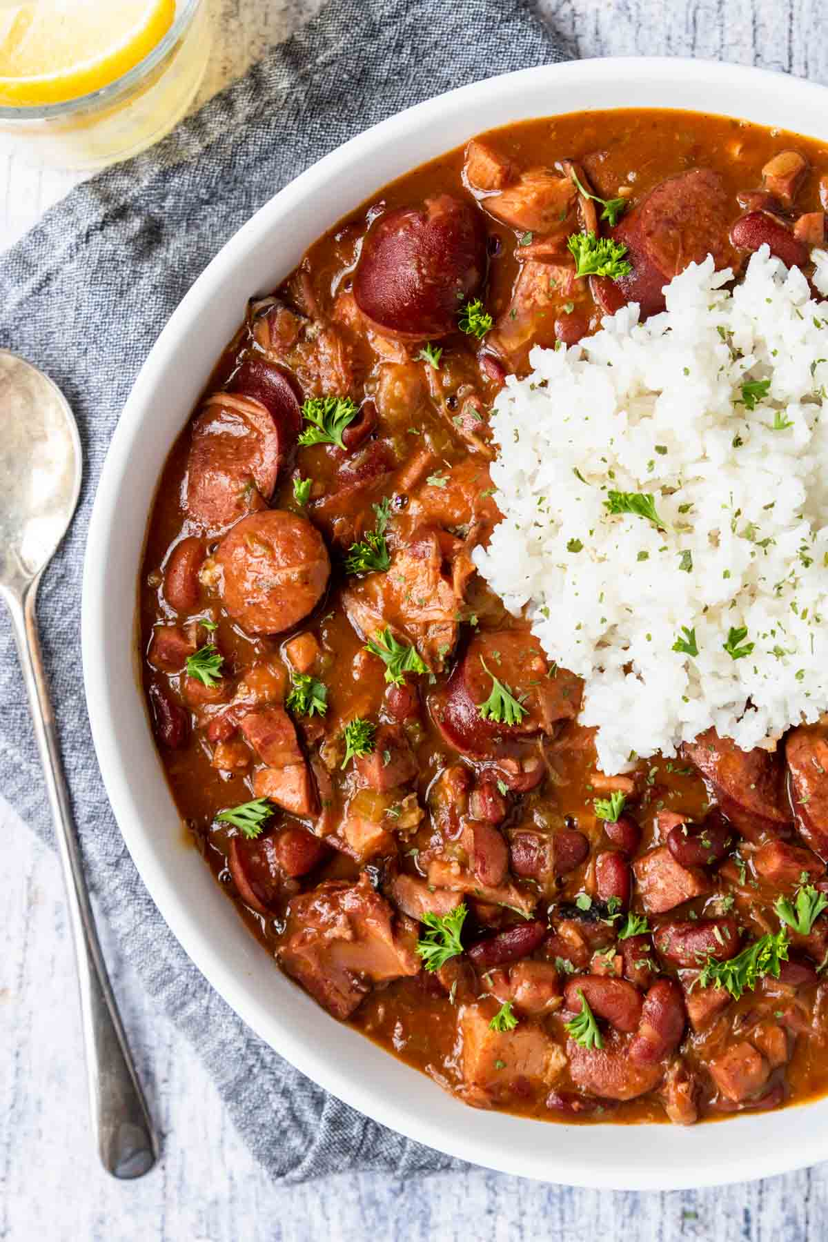red beans and sausage topped with white rice