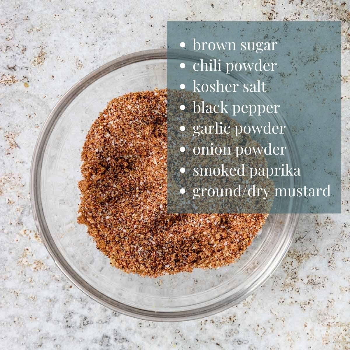 list of ingredients for BBQ Seasoning